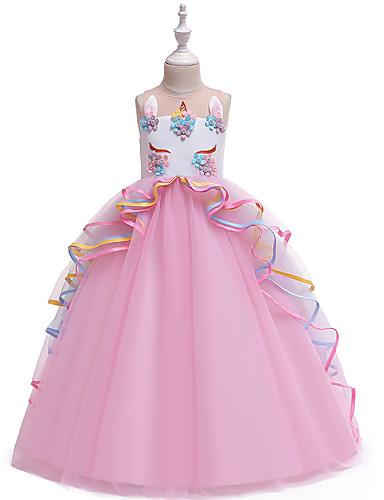 billige Unicorn Dresses-Barn Jente Vintage Søt Unicorn Fargeblokk Multi Layer Lapper Ermeløs Maksi Kjole Rosa