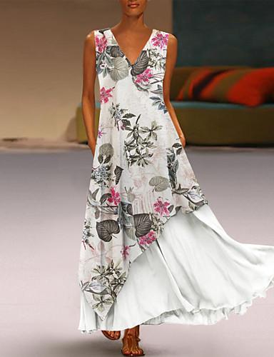 e40f9152a1f60 cheap Maxi Dresses-Women's Basic Sheath Dress - Floral White Yellow