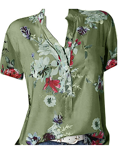 billige Dametopper-V-hals Store størrelser Skjorte Dame - Geometrisk, Trykt mønster Beige