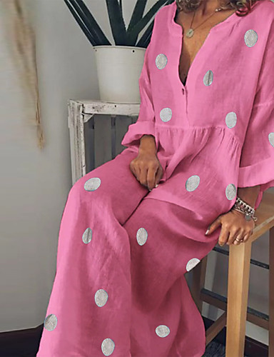 acf74e970f1b Χαμηλού Κόστους Μακριά Φορέματα-Γυναικεία Βασικό Θήκη Φόρεμα - Πουά Μακρύ