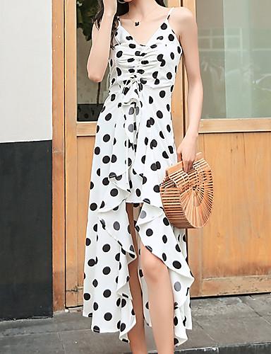 Femme Midi Balançoire Robe Blanc Noir M L XL Sans Manches