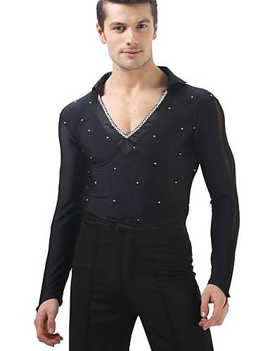 ราคาถูก ชุดเต้นรำลาติน-ชุดเต้นละติน เสื้อ สำหรับผู้ชาย การฝึกอบรม / Performance polyster คริสตัล / พลอยเทียมต่างๆ Top