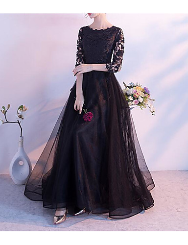 cheap Evening Dresses-A-Line Jewel Neck Floor Length Lace / Floral Lace Dress with Lace Insert by LAN TING Express