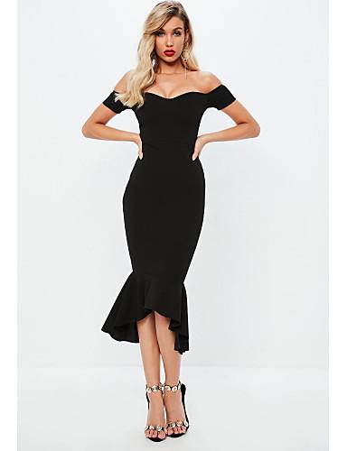 abordables TS@ Ropa-TS@ Mujer Chic de Calle Elegante Vaina Corte Sirena Vestido - Volante, Un Color Midi