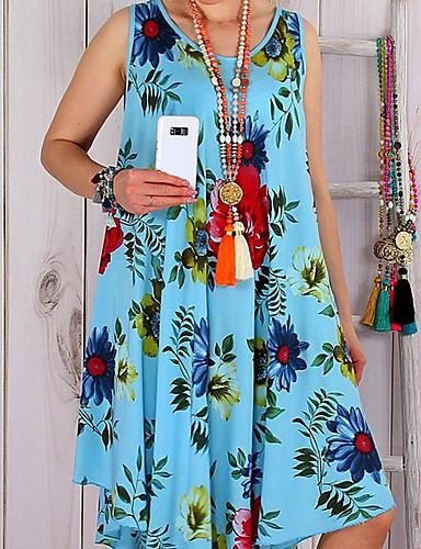 رخيصةأون 6/3-فستان نسائي قياس كبير متموج الأزهار ستايل موضة طول الركبة ورد