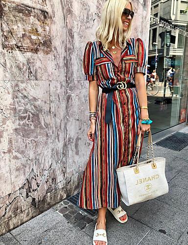 100% Vero Per Donna Elegante Linea A Vestito A Strisce Maxi #07338024