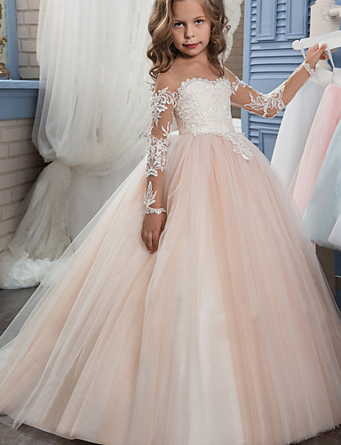 637d5424da31 Ball Gown Sweep / Brush Train Flower Girl Dress - Lace / Tulle Long Sleeve  Off Shoulder with Appliques / Embroidery / Lace by LAN TING Express