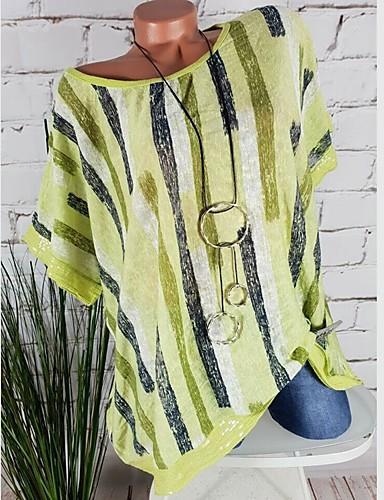 billige Topper til damer-Løstsittende Store størrelser Skjorte Dame - Stripet, Lapper / Trykt mønster Grunnleggende Hvit
