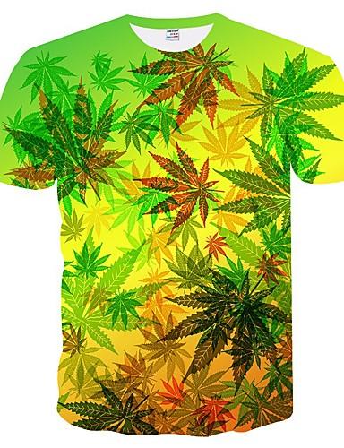 voordelige Heren T-shirts & tanktops-Heren Print Grote maten - T-shirt Bloemen / Kleurenblok / 3D Ronde hals Slank Klaver