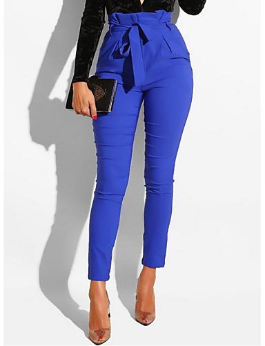 abordables Pantalons Femme-Femme Basique Mince Chino Pantalon - Couleur Pleine Bleu Roi M L XL