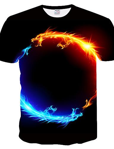 voordelige Heren T-shirts & tanktops-Heren T-shirt Print Grote maten - T-shirt 3D / dier Ronde hals Slank Zwart