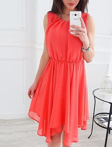 632e86174ed6 Χαμηλού Κόστους Γυναικεία Φορέματα-Γυναικεία Βασικό Γραμμή Α Φόρεμα -  Μονόχρωμο Ασύμμετρο