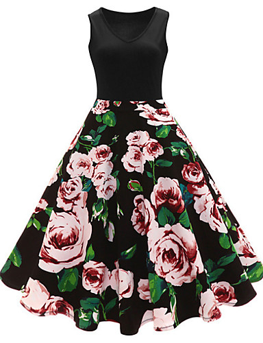 billige Kjoler-Dame Store størrelser Vintage 1950-tallet Bomull A-linje Kjole - Polkadotter Blomstret, Trykt mønster V-hals Midi