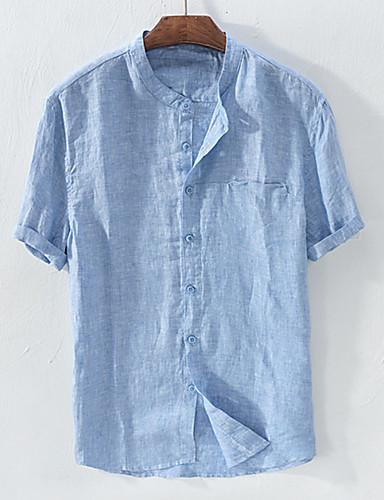 economico Camicie da uomo-Camicia - Taglie UE / USA Per uomo Essenziale Collage, Tinta unita Colletto Mao - Lino Bianco XXL