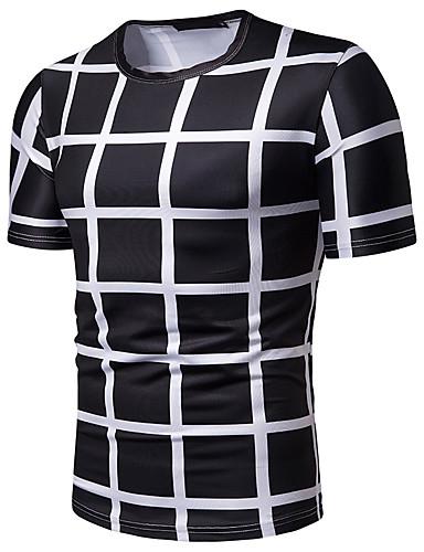 abordables Camisas de Hombre-Hombre Negocios / Básico Trabajo Talla EU / US Estampado Camiseta, Escote Redondo A Cuadros / Cuadrícula Blanco L / Manga Corta