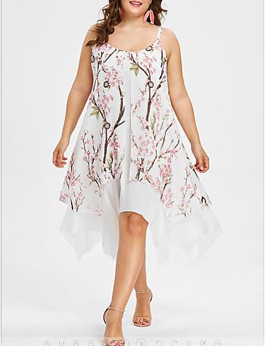voordelige Grote maten jurken-Dames Elegant Chiffon Wijd uitlopend Jurk - Geometrisch, Patchwork Print Asymmetrisch