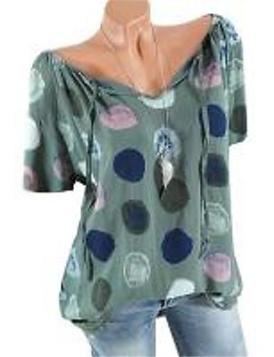billige Topper til damer-Bomull V-hals / Løse skuldre Skjorte Dame - Polkadotter / Grafisk, Blondér / Lapper / Trykt mønster Bohem / Punk & Gotisk Rosa