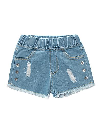 Bambino Da Ragazza Essenziale - Moda Città Tinta Unita Tagliato - Strappato Cotone Jeans Blu #07337185