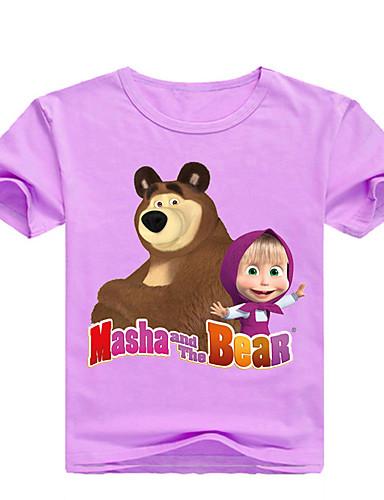 Děti / Toddler Dívčí Základní Tisk Tisk Krátký rukáv Bavlna / Spandex Košilky Světlá růžová