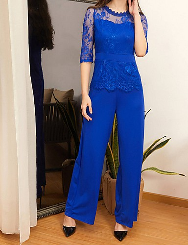 cheap Women's Jumpsuits & Rompers-Women's Green Black Red Wide Leg Slim Jumpsuit, Solid Colored Lace / Fashion L XL XXL Spring Summer Fall / Winter