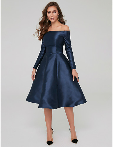 billige Formelle dresser-A-linje Løse skuldre Telang Sateng Cocktailfest Kjole med Belte / bånd av TS Couture®