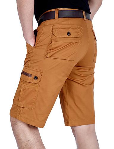 billige Herrebukser og -shorts-Herre Grunnleggende Tynn Shorts Bukser - Ensfarget Bomull Lysegrønn Militærgrønn Kakifarget 38 42 44
