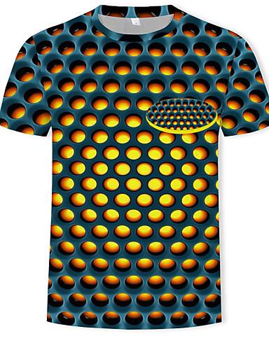 voordelige Heren T-shirts & tanktops-Heren Print T-shirt Katoen Polka dot / 3D Ronde hals Geel