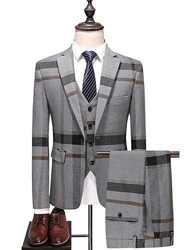 voordelige Herenblazers & kostuums-Heren Grote maten Pakken, Gestreept / Kleurenblok Overhemdkraag Polyester blauw / Grijs / Slank