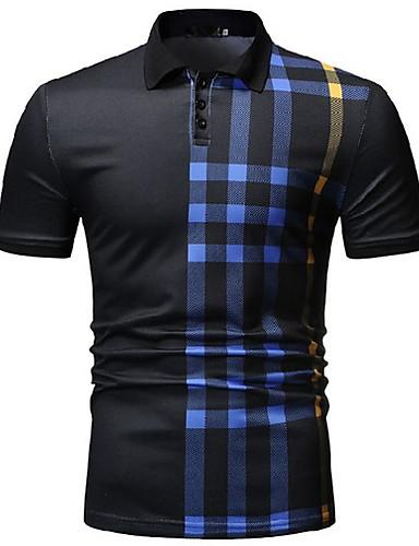 voordelige Herenpolo's-Heren Polo Gestreept Overhemdkraag Wit / Korte mouw