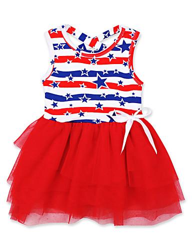 שמלה ללא שרוולים דפוס בנות תִינוֹק