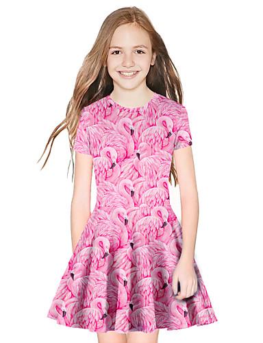 שמלה מעל הברך שרוולים קצרים חיה מתוק / סגנון חמוד בנות ילדים / כותנה