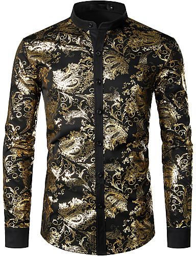 voordelige Herenoverhemden-Heren Boho Pailletten EU / VS maat - Overhemd Katoen Effen / Geometrisch Opstaande boord Goud / Lange mouw