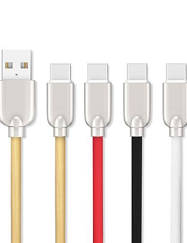 1.5m (5ft) סוג-c כבל USB שטוח / תשלום מהיר אבץ מסגסוגת כבל USB עבור סמסונג huawei xiaomi Sony lenove htc נוקיה מוטורולה LG וכו '