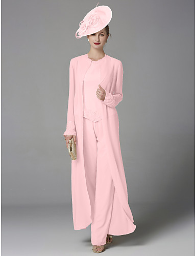voordelige Wrap Dresses-pantsuit Met sieraad Tot de grond Chiffon Bruidsmoederjurken met Kralen door LAN TING BRIDE® / Wrap inbegrepen