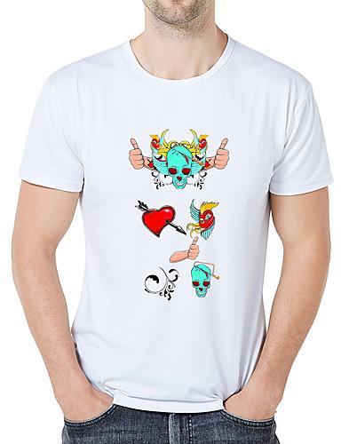 abordables Ropa de Hombre-Hombre Negocios / Vintage Estampado Camiseta Gráfico / Caricatura / Cráneos Blanco XXL