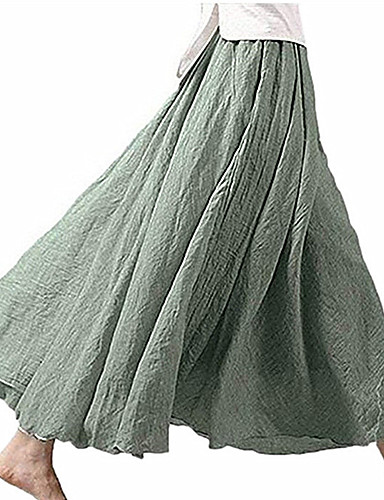 אחיד - חצאיות מקסי פשתן נדנדה בגדי ריקוד נשים לבן שחור חאקי M L XL