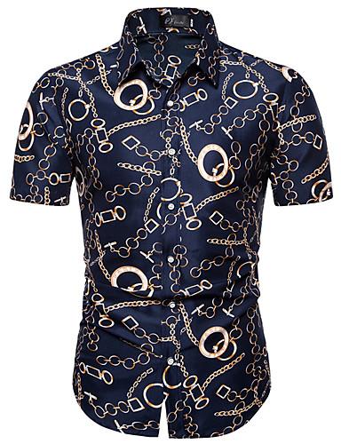 גיאומטרי צווארון קלאסי רזה סגנון רחוב מידות גדולות חולצה - בגדי ריקוד גברים כחול נייבי / שרוולים קצרים