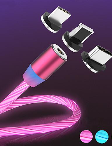 הזרימה המגנטית הזוהר הוביל אור מטען USB כבל עבור iPhone xs מקסימום מיקרו סוג C תשלום a50 a70 כבל p30 כבל מהיר מגנט