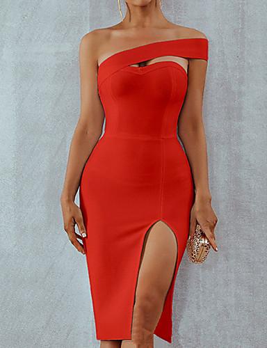 voordelige Grote maten jurken-Dames Standaard Wijd uitlopend Jurk - Effen Boven de knie