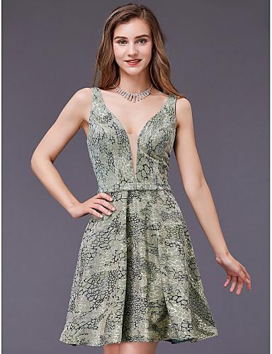 abordables Robes de Fête-Trapèze Col en Y Courte / Mini Jersey Soirée Cocktail Robe avec par TS Couture®