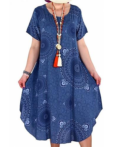 Femme Grandes Tailles Mi-long Ample Tunique Robe - Imprimé, Tribal Eté Rouge Rose Claire Jaune XXXL XXXXL XXXXXL Manches Courtes