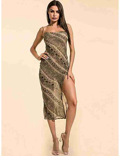 hesapli Seksi Elbiseler-Kadın's Sokak Şıklığı Kılıf Elbise - Leopar, Arkasız Bölünmüş Midi