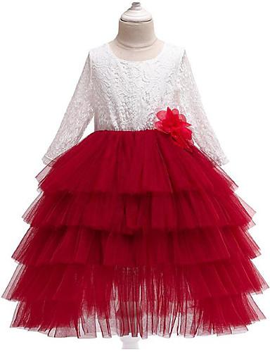 נסיכה באורך הקרסול שמלה לנערת הפרחים  - פוליאסטר / טול שרוול ארוך עם תכשיטים עם אפליקציות / תחרה / שכבות על ידי LAN TING Express
