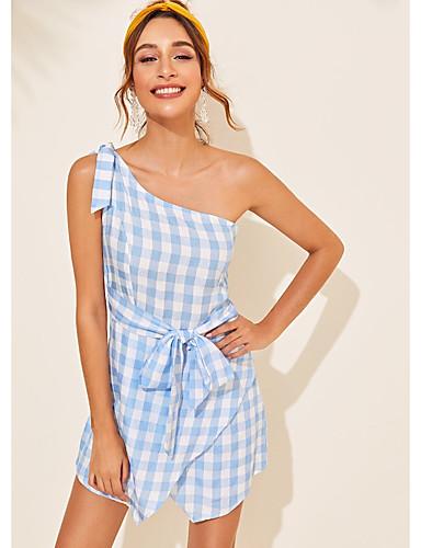 abordables Robes Femme-Femme Mini Gaine Robe - Mosaïque, Damier Bleu M L XL Sans Manches