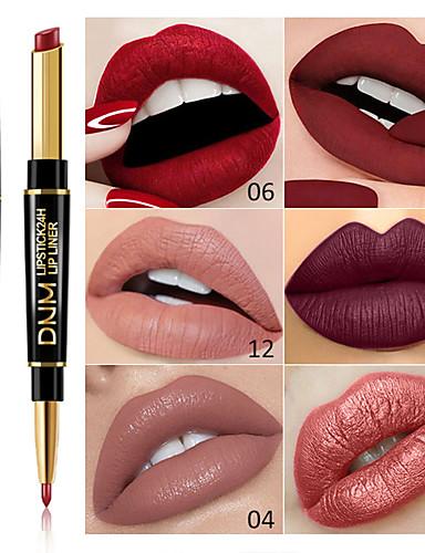 billige Leppe makeup-merkevare dnm dobbel hode leppestift leppe liner multi-funksjon perle matte leppestift penne vanntett langvarig leppe makeup