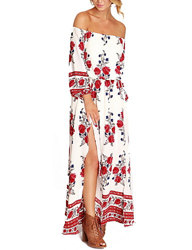 cheap Special Occasion Dresses-Maxi Dress A-Line Off Shoulder Floor Length Chiffon Prom Dress with by LAN TING Express