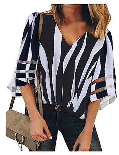 billige Topper til damer-Tynn V-hals Skjorte Dame - Stripet, Utskjæring Grunnleggende Rød
