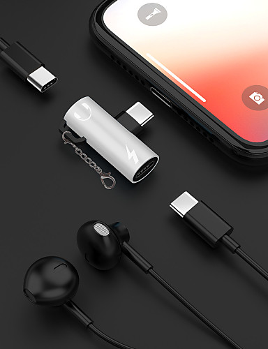 2 ב 1 האוזניות מוזיקה תשלום סוג c- 3.5mm אודיו מתאם כבל עבור.