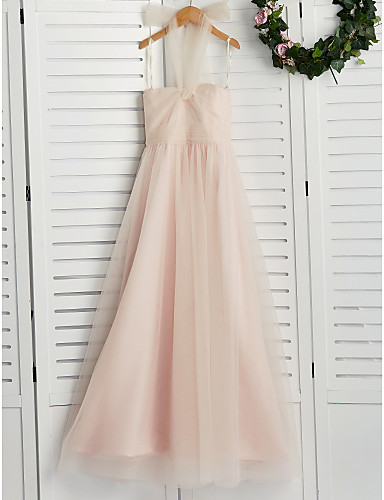 ea693feb0 A-Line Halter Neck Floor Length Tulle Junior Bridesmaid Dress with Ruching  by LAN TING BRIDE®