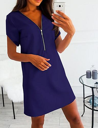 זול שמלות מיני-V עמוק מעל הברך שמלה גזרת A בגדי ריקוד נשים